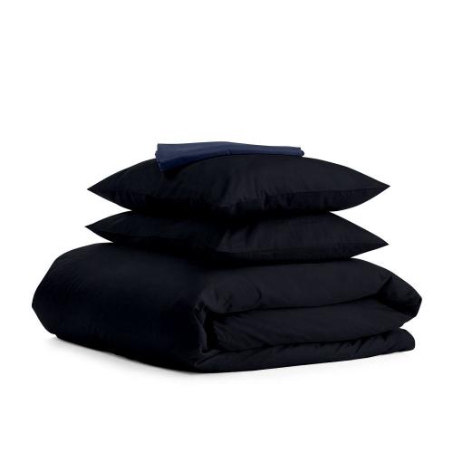 Комплект семейного постельного белья сатин BLACK BLUE-S