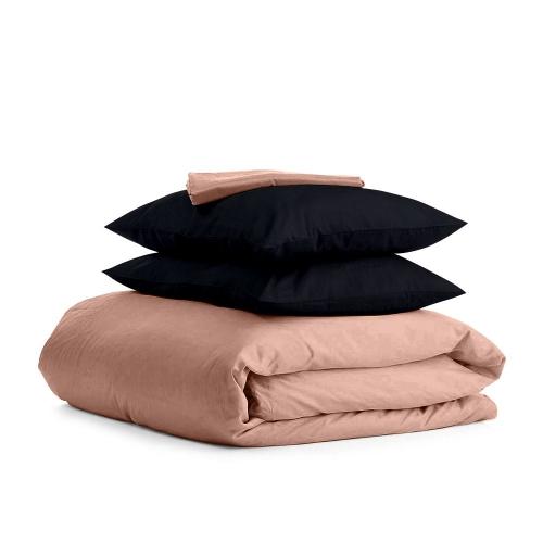 Комплект евро взрослого постельного белья сатин BEIGE BLACK-P
