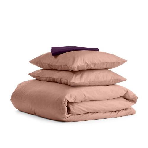 Комплект евро взрослого постельного белья сатин BEIGE VIOLET-S