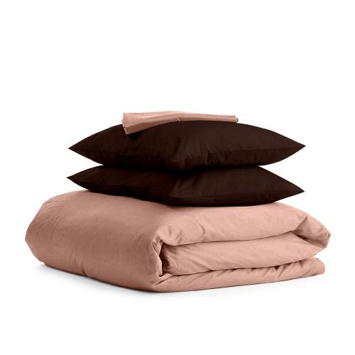 Комплект семейного постельного белья сатин BEIGE CHOCOLATE-P