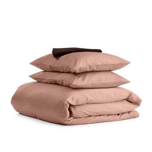 Комплект евро взрослого постельного белья сатин BEIGE CHOCOLATE-S
