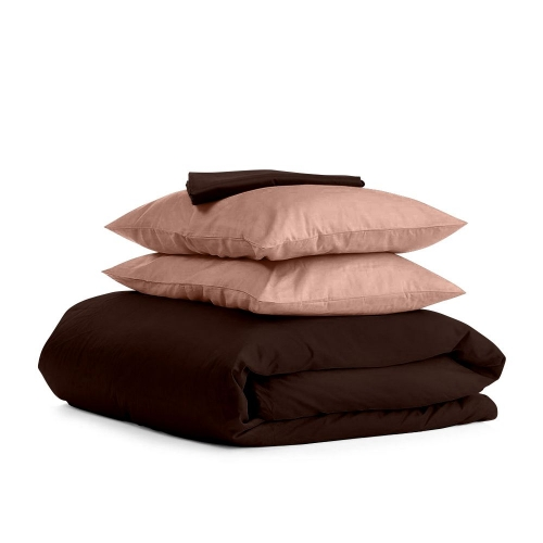 Комплект евро взрослого постельного белья сатин CHOCOLATE BEIGE-P
