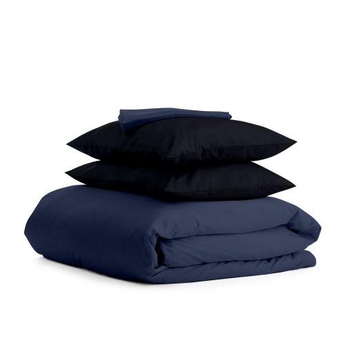 Комплект евро взрослого постельного белья сатин DARK BLUE BLACK-P