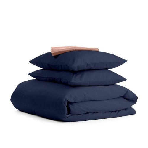 Комплект евро взрослого постельного белья сатин DARK BLUE BEIGE-S