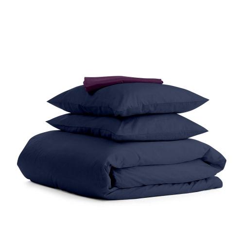 Комплект евро взрослого постельного белья сатин DARK BLUE VIOLET-S