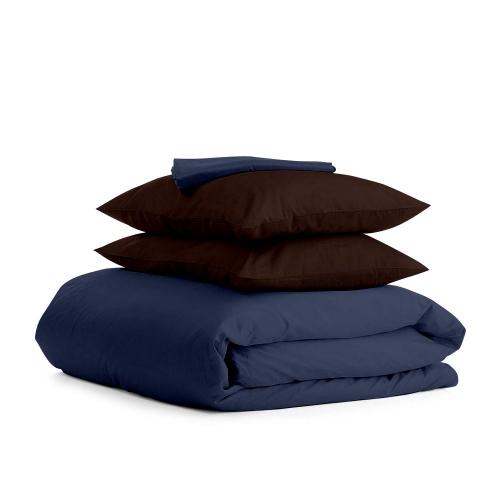 Комплект двуспального постельного белья сатин DARK BLUE CHOCOLATE-P