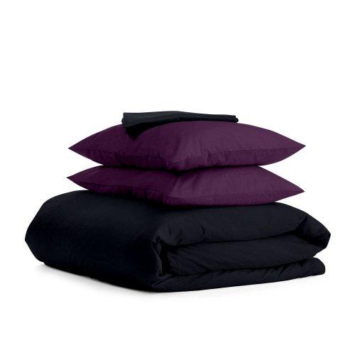 Комплект евро взрослого постельного белья сатин BLACK VIOLET-P