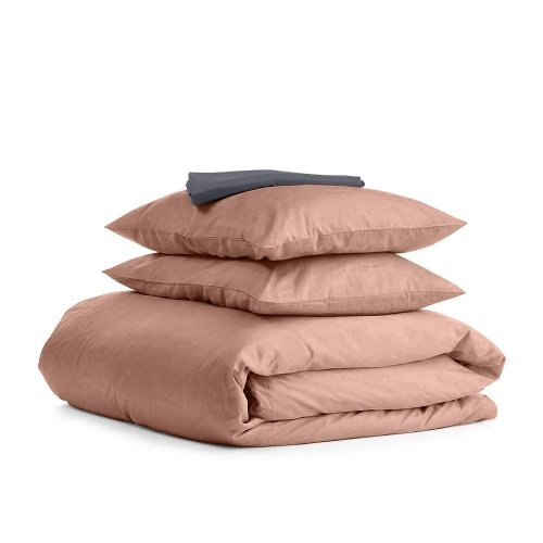 Комплект евро взрослого постельного белья сатин BEIGE GREY-S