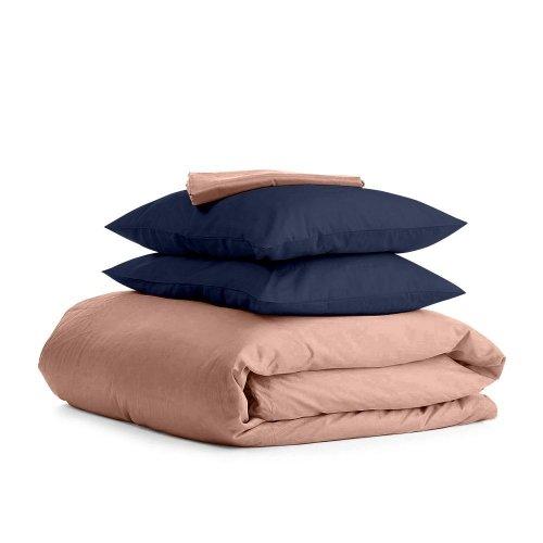 Комплект евро взрослого постельного белья сатин BEIGE BLUE-P