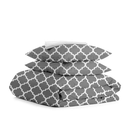 Комплект евро взрослого постельного белья MOROCCO GREY WHITE