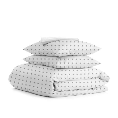 Комплект полуторного постельного белья DOTS SILVER WHITE