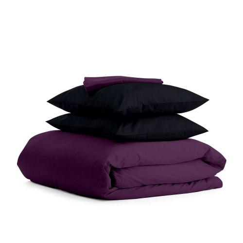 Комплект евро взрослого постельного белья сатин VIOLET BLACK-P