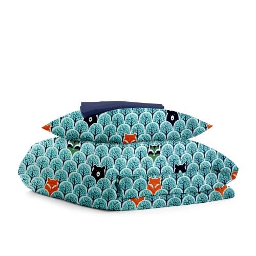 Комплект подросткового постельного белья BEAR WOOD DARK BLUE /простынь на резинке 90х200х20/