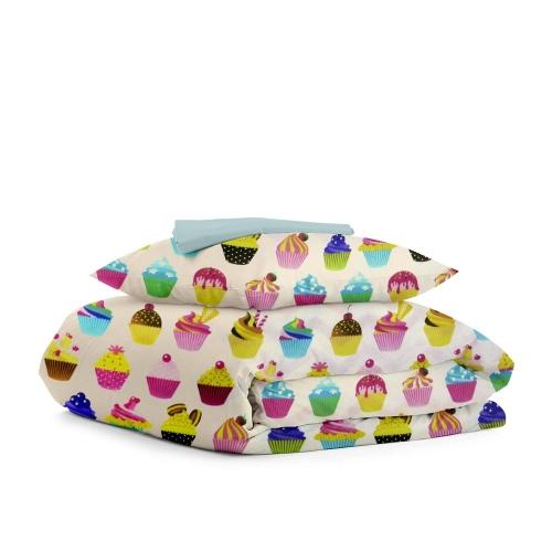 Комплект подросткового постельного белья CAKES DOTS BLUE /простынь на резинке 90х200х20/