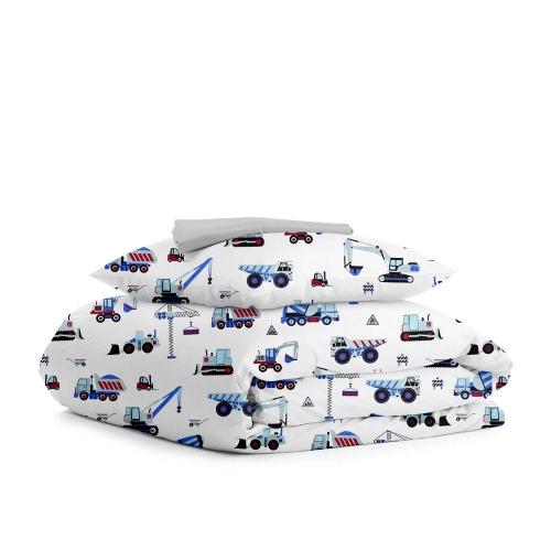 Комплект подросткового постельного белья BUILDING BLUE GREY /простынь на резинке 90х200х20/