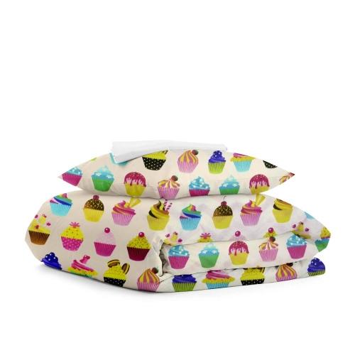 Комплект подросткового постельного белья CAKES DOTS WHITE /простынь на резинке 90х200х20/