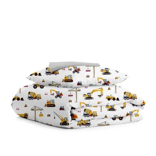Комплект подросткового постельного белья BUILDING YELLOW GREY /простынь на резинке 90х200х20/