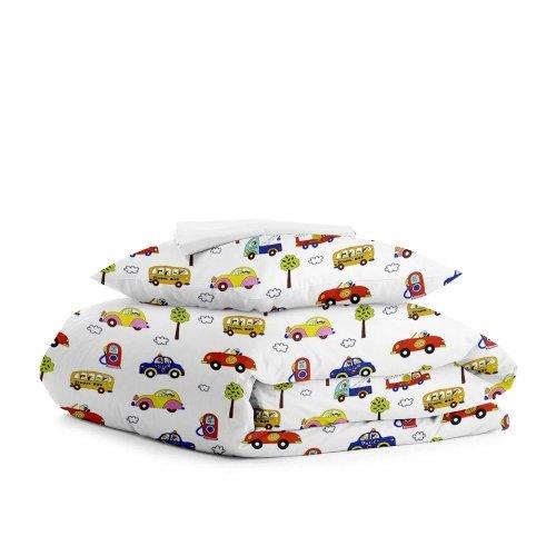Комплект подросткового постельного белья CARS STAR WHITE /простынь на резинке 90х200х20/
