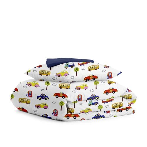 Комплект подросткового постельного белья CARS STAR DARK BLUE /простынь на резинке 90х200х20/