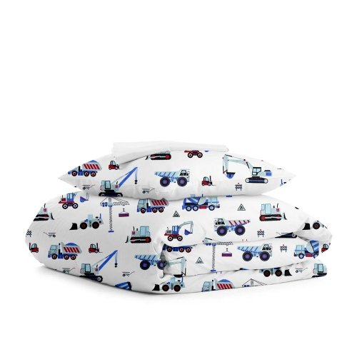 Комплект подросткового постельного белья BUILDING BLUE WHITE /простынь на резинке 90х200х20/