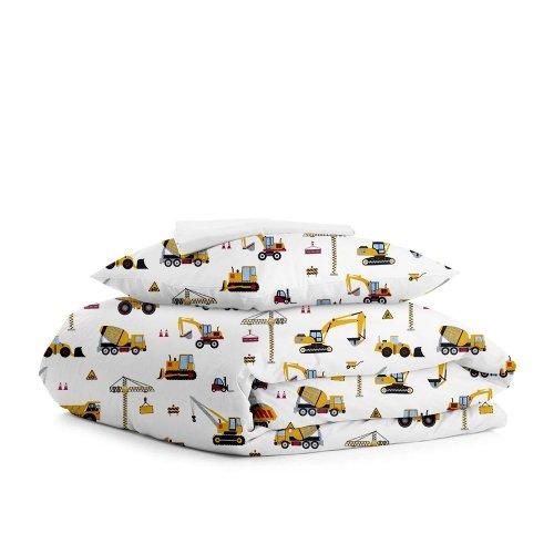 Комплект подросткового постельного белья BUILDING YELLOW WHITE /простынь на резинке 90х200х20/