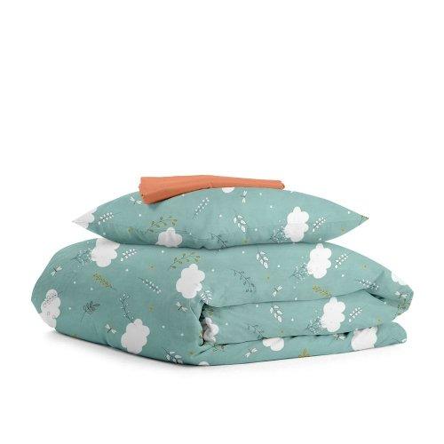 Комплект подросткового постельного белья BUSH MINT TERRAKOT /простынь на резинке 90х200х20/