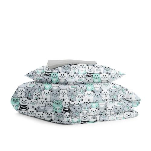 Комплект подросткового постельного белья CATS DOTS GREY /простынь на резинке 90х200х20/