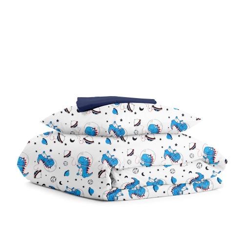 Комплект подросткового постельного белья DINO SPACE DARK BLUE /простынь на резинке 90х200х20/