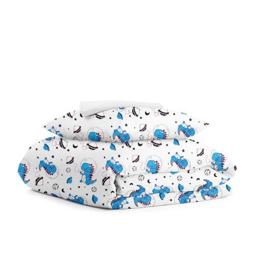Комплект подросткового постельного белья DINO SPACE WHITE /простынь на резинке 90х200х20/