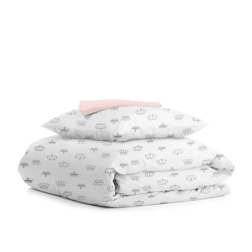 Комплект подросткового постельного белья CROWN DOTS PUDRA /простынь на резинке 90х200х20/