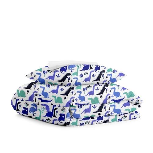 Комплект подросткового постельного белья DINO BLUE WHITE /простынь на резинке 90х200х20/