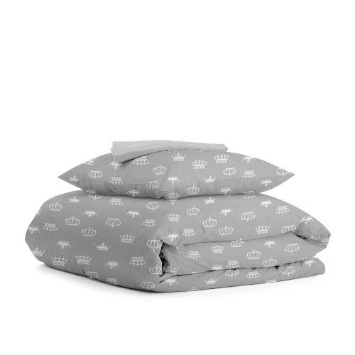 Комплект подросткового постельного белья CROWNG ZIG GREY /простынь на резинке 90х200х20/