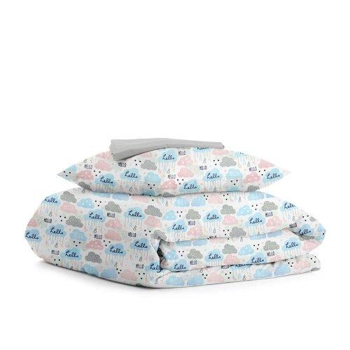 Комплект подросткового постельного белья CLOUD HELLO GREY /простынь на резинке 90х200х20/