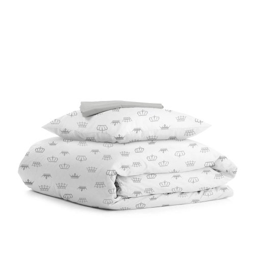 Комплект подросткового постельного белья CROWN DOTS GREY /простынь на резинке 90х200х20/