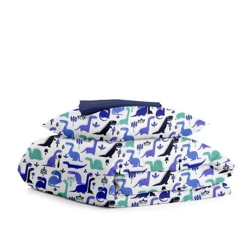 Комплект подросткового постельного белья DINO BLUE DARK BLUE /простынь на резинке 90х200х20/