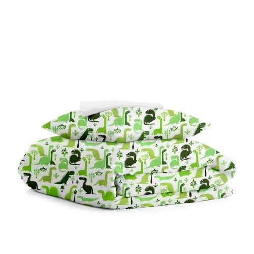 Комплект подросткового постельного белья DINO GREEN WHITE /простынь на резинке 90х200х20/