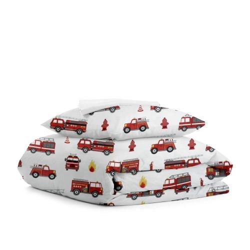 Комплект подросткового постельного белья FIRE CARS WHITE /простынь на резинке 90х200х20/