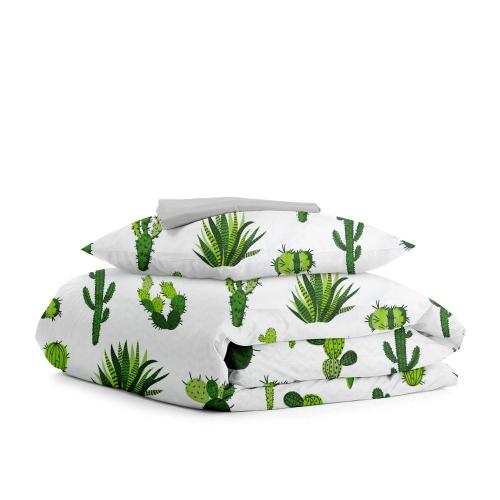 Комплект подросткового постельного белья KAKTUS ZIG GREY /простынь на резинке 90х200х20/