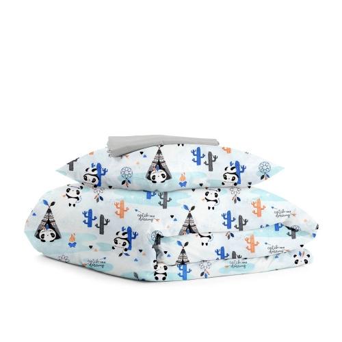 Комплект подросткового постельного белья PANDA INDI GREY /простынь на резинке 90х200х20/