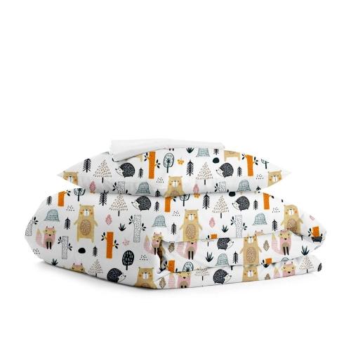 Комплект подросткового постельного белья FOREST DOTS WHITE /простынь на резинке 90х200х20/