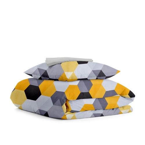 Комплект подросткового постельного белья HONEY ZIG GREY /простынь на резинке 90х200х20/