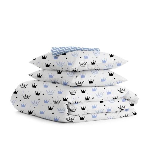 Комплект полуторного постельного белья CROWN BLUE /зигзаг голубой/